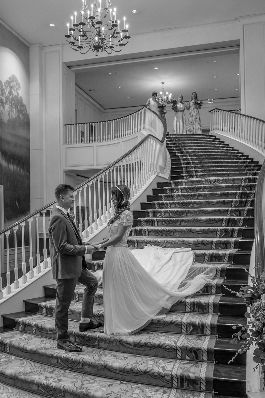 Sanctuary at Kiawah island wedding couple on grand staircase