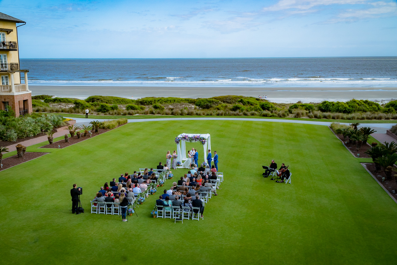 Sanctuary at Kiawah island outdoor wedding on grand lawn