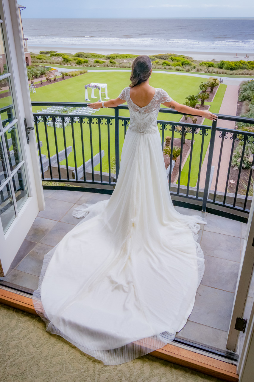 Sanctuary at Kiawah island wedding bride overlooking grand lawn